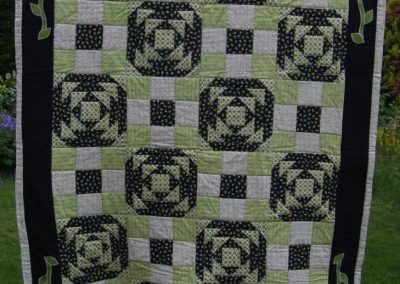 A quilt using two recurring blocks with applique edging