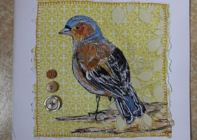 Chaffinch - stitched paper collage