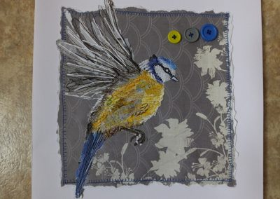 Blue Tit - stitched paper collage